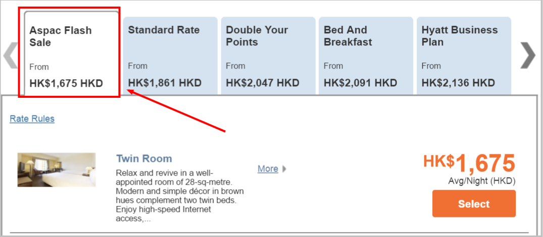 Hyatt Select Rooms Rate