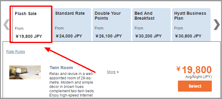 Hyatt Select Rooms Rate