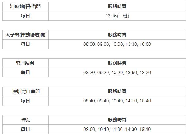 香港到珠海直通巴士時刻表