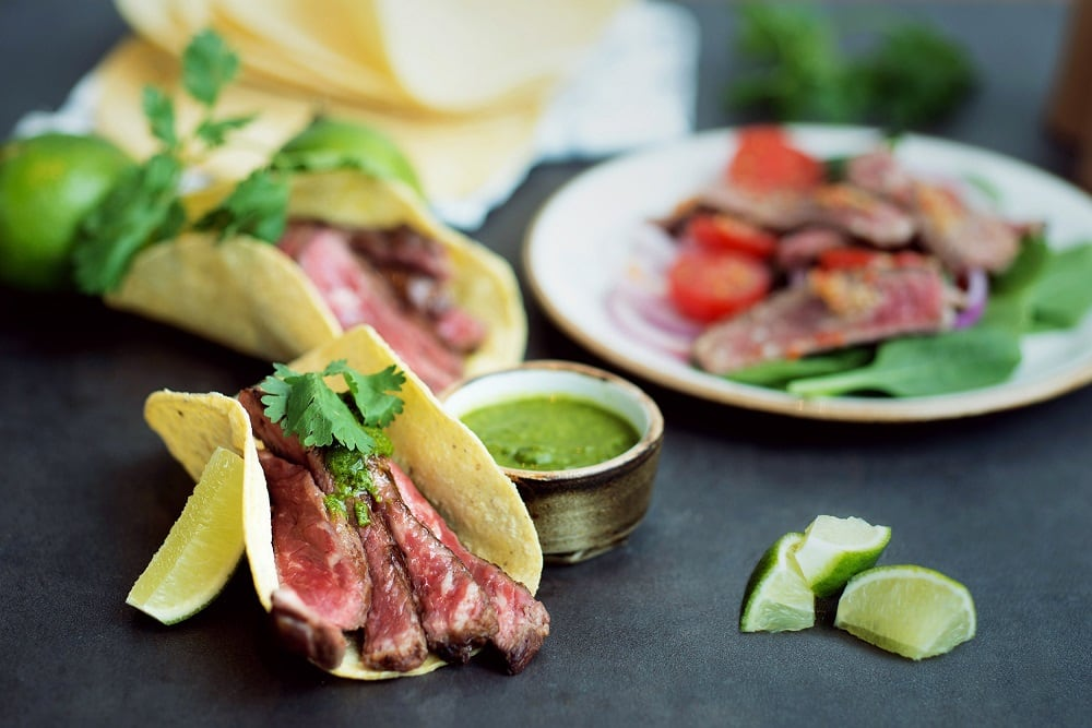 USDA Skirt Steak Tacos and USDA Rare Beef Salad
