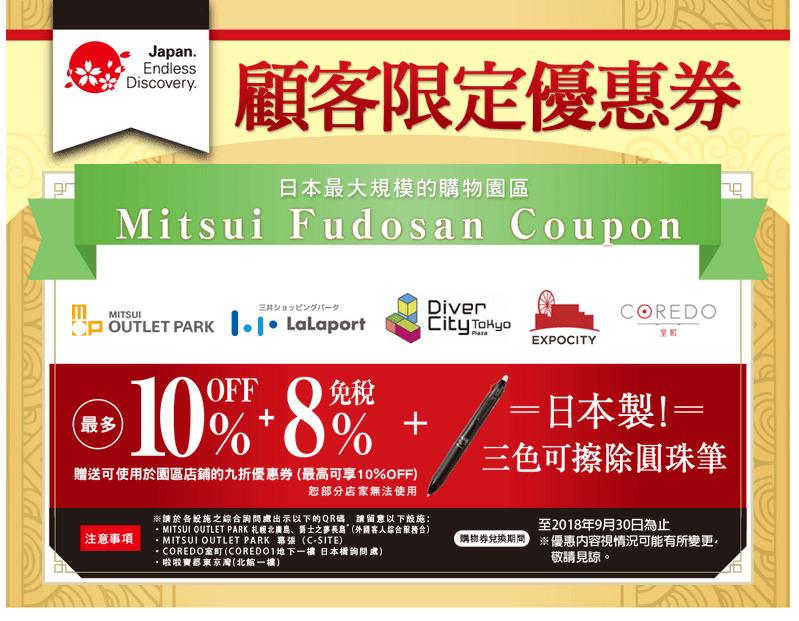 三井 Mitsui Outlet Park 10% 優惠券