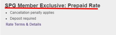 SPG Member Exclusive Prepaid Rate