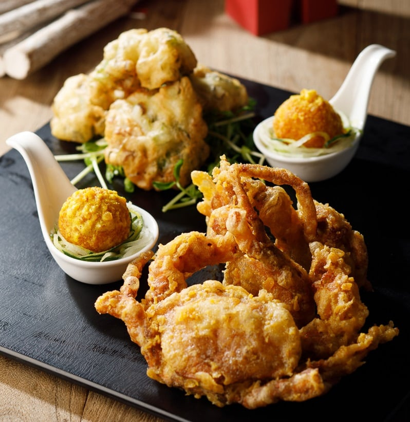 Crispy Soft Shell Crab, Baby Oyster And Deepfried Lobster Dumpling With Salted Duck Eggyolk