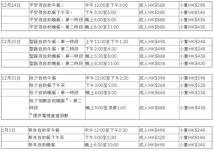 香港喜來登酒店自助餐價錢