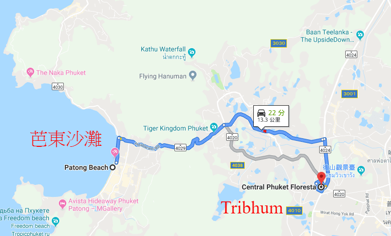 Tribhum phuket map